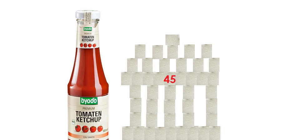 Ketchup: Anzahl der Würfelzucker 45